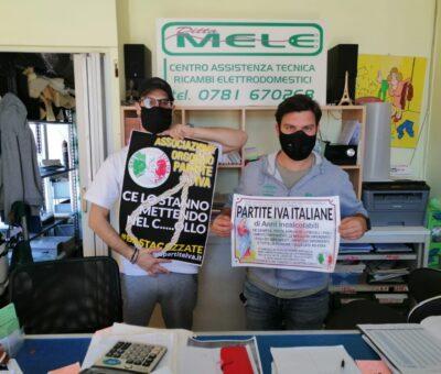 """Anche in Sardegna la protesta dei commercianti dell'associazione """"Orgoglio partite Iva"""""""